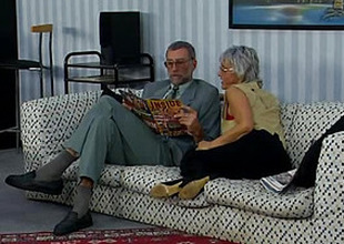 Old couple fucking on the couch