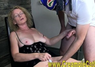 Cougar wife Cathy takes creampie from masked chap