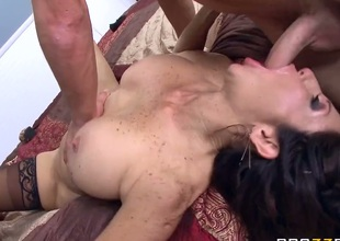 Tara Holiday is a big titted ho step-mom on fire. Passionate big titted woman with juicy plump ass gets her soaking wet pussy fucked hard on a double size ottoman by lucky dude Van Wylde.