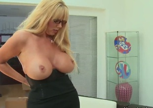 Karen Fisher with gigantic jugs opens her fuck box to take Danny Wylde s meat stick