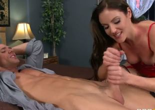 Sexy brunette Samantha Ryan comes to her boss house to ask some business questions. But instead she makes him superb blowjob and he cums in her deep mouth powerfully.