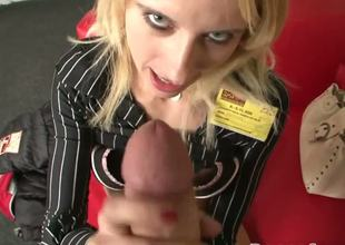 Turned on cum loving and cock sucking experienced blonde milf Eana with massive stunning hooters plays with her shaved fish lips and gives lusty blowjob to pornstar Rocco Siffredi
