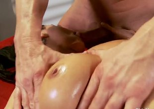 Charley Chase just finished her work and decided to go for a horny oiled massage, this muscular guy will fuck that slut in all of her tight holes like not at any time before, take a look!