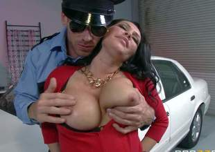 Dayton Rains red blouse and short dark petticoat cant hide her big boobs and round ass. She gets arrested by policeman Johnny Sins. This chab just cant miss his chance to bang this charming big titted MILF!
