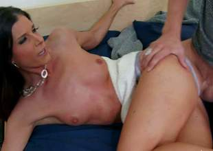 Beautiful skinny brunette India Summer, his buddys mom, is next to him and he has nothing but filthy hard fucking on his mind. He pulls her tight panties aside to give her hairless pussy a lick and then she takes his love bone in her pink hole