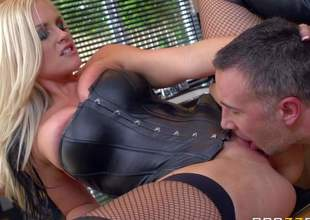 Long haired blonde milf Alena Croft is a sexy dominatrix in skin tight corset and mesh stockings when her husband is out of home. Hot cheating wife spends time fucking with obedient guys like Keiran Lee