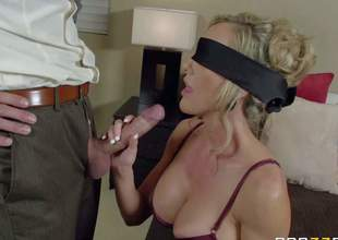 Breasty lingerie-clad milf Brandi Love is blindfolded to make her husbands sexual fantasies a reality. But its not his cock in her mouth. She gets banged a stranger during the time that her husband is watching