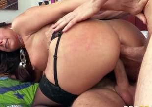 Kaylynn is a horny as hell moist milf with sexy thick ass and nice boobs. Hot woman in black stockings acquires double penetrated by her sons best buddies. Watch her get double used by Erik Everhard and Mick Blue