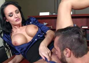 One of a kind milf Alektra Blue with big round firm hooters and long legs in sexy outfit seduces young fucker Daniel Hunter and gets juicy minge licked to orgasm