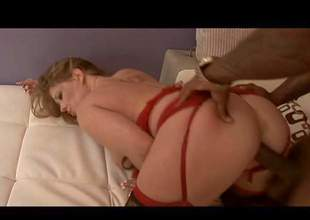 Big a-hole and pale brunette honey with hawt curved body in her red lingerie and stockings enjoys in getting her pussy drilled hard by a black dick in doggy pose