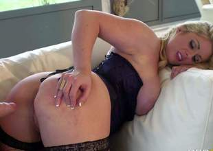 MILF blonde Ashley Downs is one of those insatiable wives that love to fuck and can not get enough. Lady in dark stockings shows off her big tits and juicy ass as she gets her pink eager fuck hole drilled by rock stiff cock