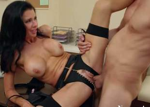 Black haired milf Veronica Avluv with big fake tits and great hunger for cock in lingerie engulf balls and gets fucked ball unfathomable by young stud Danny Wilde in the office