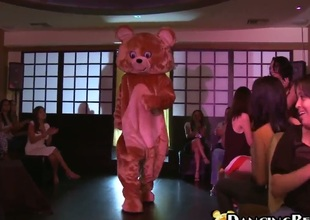 Girls of all kinds got together at a party for some crazy fuckfest with their male stripper dressed as a teddy bear. From barely 18 to really hawt milfs, theyll all enjoy.
