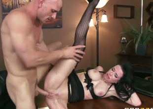 Dark haired hot MILF Veronica Avluv in hot black lingerie is a sex starved woman with big breasts and tight clean pussy. She shows her love for fucking as she gets her hole banged hard by her dirty boss.