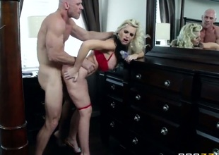 Hot MILF action with this beautiful blonde with big tits, and this muscular stud with a big hard cock. Staring Alena Croft and Johnny Sins. That babe is one hot momma who loves to take cock between her big fake tits, and then deep into her tight wet pussy.