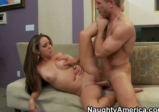 Brunette senora Ella Milano with tiny tities and bald twat gets the hole between her sexy legs dicked by Bill Bailey in front of the camera