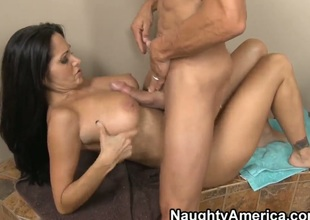 With round bottom and shaved beaver is a sex addict that loves Tommy Gunns rock hard dick so much