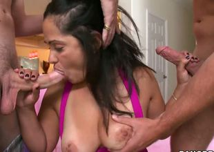 Hot milf Catalina knows what this babe wants and how to get it...She invites two young studs over and gives an amazing double blowjob previous to letting them fuck her out of her mind!