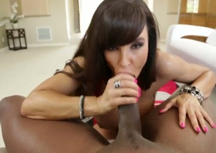 Lexington Steele is a fucking legend and so is Lisa Ann. We get to see 'em in action together as Lisa gobbles on that enormous shlong and as she impales her milf cunt on that ginormous cock.