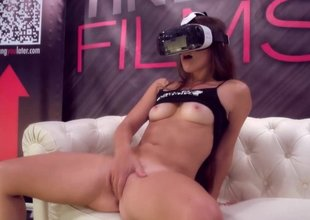 Fingering herself to VR