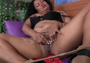 Latina milfs Sharon and Maribel receive to receive off after work