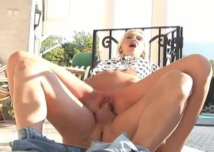 Lovely milf with marvelous tits fucked outdoors