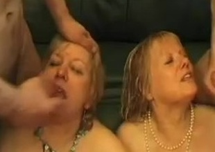 Two aged blond chubby gals in hot gangbang