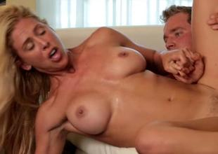 Mature hottie does some tricks with hard boner