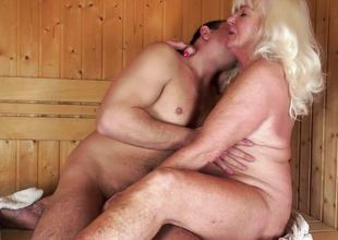 Old horny blond fucked by a hard dick