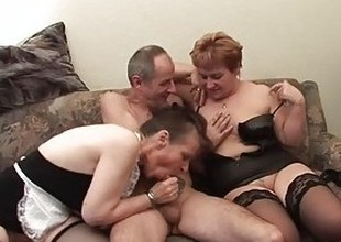 Two grandmas play with a cock & every other