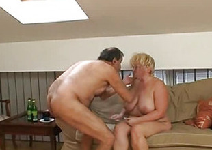 Old aunt fucks a man