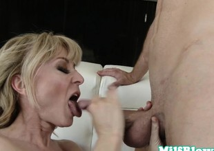 Cougar fucked doggystyle and jizzed on face