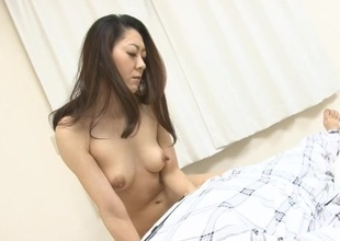 Two dudes boned hawt Oriental mother i'd like to fuck making her engulf their rods on her knees