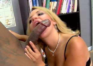Charming MILF Andrea Acosta shows her professionalism by sucking big darksome cock. Her mouth can't live without this darksome and meaty machine, so she could be considered as real blowjob professional