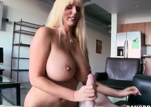 Karen Fisher is super horny and crazy hot milf with giant boobs and hot soul! This blonde lady was looking for some young, but huge and fresh dicks! My friend in not against to help her.