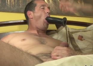 Alexandra Silk is giving her new fellow Paul Carrigan a great bj while he is sucking on a toy as well. She indeed works on his wang and then gives him a ride and you just know he is waiting for something.
