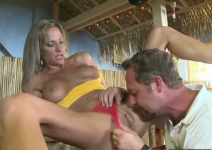 Blonde cant resist guys sturdy snake and takes it in her mouth