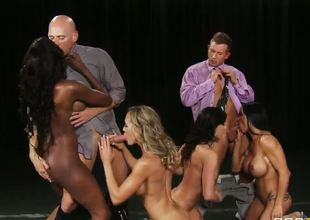 Group of great looking turned on pornstars Bill Bailey, Brandi Love, Diamond Jackson, Jewels Jade, Johnny Sins and Kendra Longing make steaming hot hardcore action at tits parade