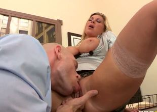Devon Lees boss, Johnny Sins goes to speak to the big breasted blonde about her Work. that babe wastes no time in getting her massive tits out and giving him a fantastic blow job right in the middle of the office.