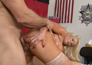 Alura Jenson looks so horny as she gets her huge breasts out. she leans over Ramons and takes his hard cock between those heavy looking globes. She gets him so excited this guy turns her around and gives her the long hard ride she was gagging for.