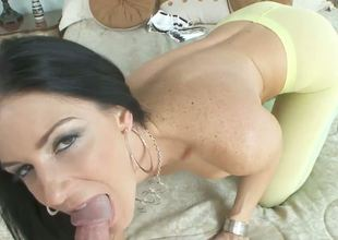 India Summer couldnt possibly look any hotter in those tight spandex that make her butt even juicier! Watch the slut get on her knees to be mouthfucked before pussy drilling!