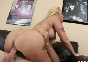 But lewd and lonely Alana Evens gets more than just comfort from hung and hawt Jordan Ash when she seeks advice, she gets to suck, tit wank and ride his manly cock.