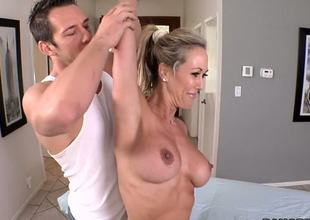 The hottest milf Brandi Love is getting the real pleasure and delight from the massage that the skillful guy is doing over her body massage and also the hard fuck