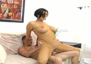 Provocative large ass black haired slutty milf Dylan Ryder with large stunning pantoons gets her sweet shaved minge drilled hard and her face covered in cum by juvenile sexually excited handsome stud