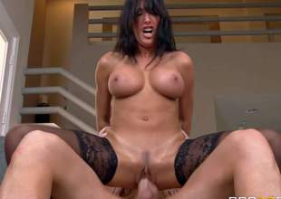 Lezley Zen is one of those horny as hell milfs that are willing to ride each cock around. She takes Clovers rock stiff fat dick up her beautifully trimmed pussy. She exposes her firm fake jugs as she receives her many times used vagina drilled again