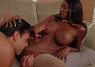 Diamond Jackson is a perfect bodied hot black woman over 3 . This big breasted ebony MILF sucks dudes thick hard white dick before she gets naked and opens her legs. This chab cant keep his lips off her tasty pussy!