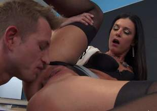 Teacher India Summer is a enjoyable tall skinny woman with long legs that seduces student guys from time to time to satisfy her sexual desires. She gets her trimmed cunt licked by curious boy before he makes his worm disappear in her pink vagina