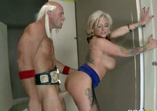 Kate Frost is a smoking hot milf with huge boobs. This babe gets fucked silly by horny champion. This babe gives headjob and gets her boobs banged before pussy slamming. He bangs her hole with his championship belt on
