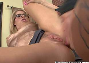 Brooke Haven is his favorite teacher. He loves her fake round tits and gives her trimmed wet bawdy cleft a try eagerly behind the closed door of the classroom. She sucks students cock and then gets her vagina drilled
