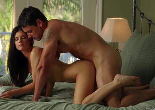 Skinny milf beauty India Summer with lengthy black hair is on vacation with her horny boyfriend. They spend hours in bed fucking non-stop. Naked stylish lady with lengthy legs shows her love for sensual sex